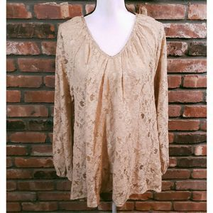Calypso St. Barth Beige Lace Long Sleeve Top